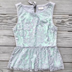 Anthro Mint Lace Tank Top